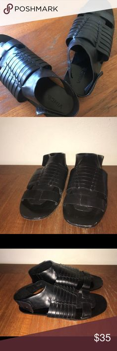 Vince size 10 black leather gladiator sandals used These are  women's VINCE brand all leather black gladiator strappy flat sandals size 10 used but a lot of life left. Fit true to size. Vince Shoes Sandals