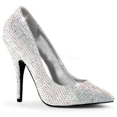 Pleaser Shoes Seduce-420RS Silver Satin Clear Sassy court shoes in silver satin with pointy toe and tone-to-tone crystal embellishment. The look is complemented by the sexy 5 inch (12.5 cm) stiletto high heels with tone-to-tone crystal adornment. http://www.MightGet.com/january-2017-12/pleaser-shoes-seduce-420rs-silver-satin-clear.asp