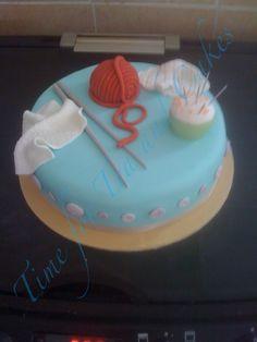 Knitting themed cake