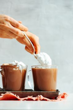 Insanely rich, delicious, refined-sugar-free vegan hot chocolate infused with real cocoa butter, cacao powder, and maca for serious feel-good vibes. Just 7 ingredients required! Vegan Hot Chocolate, Chocolate Flavors, Dessert Chocolate, Chocolate Recipes, Vegan Sweets, Healthy Desserts, Healthy Drinks, Healthy Eats, Baker Recipes