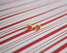polymer clay grapefruit slice kawaii earring studs, miniature food jewelry, polymer clay food charm