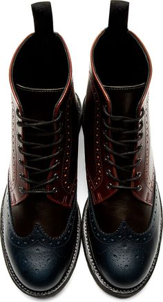 Dr. Martens: Burgundy Leather 8-Eye Bentley Ankle Boots