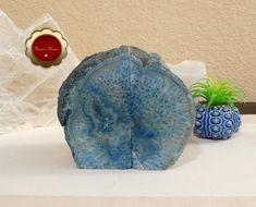 Blue Agate Bookends Blue Agate Quartz Geode Bookends