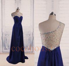 Dark Royal Blue Beaded Long Prom Dresses 2015, One Shoulder Bridesmaid Dresses, Evening Dresses, Wedding Party Dresses, Formal Party Dresses by cocohouse on Etsy https://www.etsy.com/listing/215596462/dark-royal-blue-beaded-long-prom-dresses
