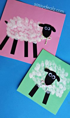 Make some cute fingerprint sheep with your kids for an Easter craft!