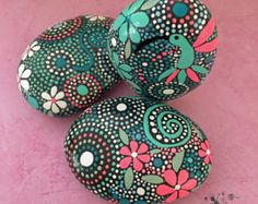 Painted Rock Hand Painted Stone Mandala Design by etherealandearth