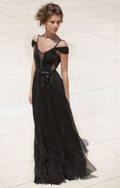 Mira Zwillinger│Fashion│Evening and Cocktail Collection.  Beautiful black flowing dress.