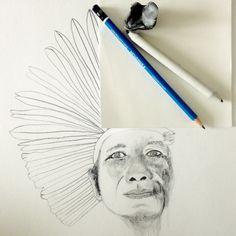 Portrait in progress of Cacique Karai of Guaraní Tribe. Pencil on paper © 2016 by Simone Guimaraes