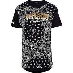Black paisley hybrid print t-shirt #riverisland #RImenswear