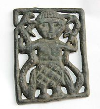 Viking,Scandinavian Bronze Application,ornament Goddess with snakes 900 AD
