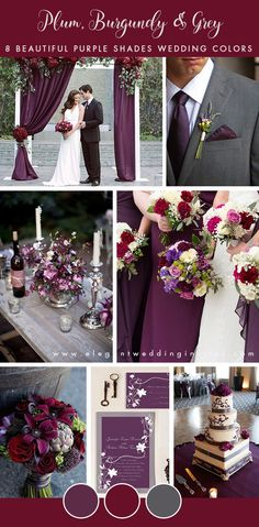 8 Stunning Wedding Colors in Shades of Purple plum,burgundy and charcoal grey fall and winter wedding color palette Burgundy And Grey Wedding, Burgundy Wedding Colors, Winter Wedding Colors, Purple Wedding, Wedding Flowers, Dream Wedding, Plum Wedding Decor, Eggplant Wedding Colors, Purple Christmas Wedding