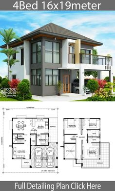 House design plan with 4 bedrooms - Home Design with Plan Two Story House Design, 2 Storey House Design, Bungalow House Design, House Front Design, Small House Design, Modern House Design, House Layout Plans, Duplex House Plans, Dream House Plans