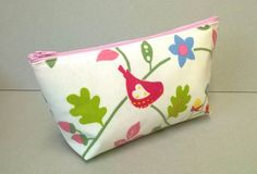 * now sold *Large make up bag in cream with birds and flowers, oilcloth cosmetic bag, make…