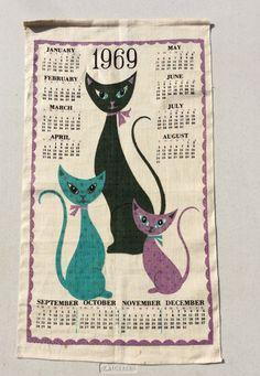 Vintage 1969 Calendar Towel Wall Hanging by unclebunkstrunk