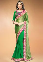 Admyrin Green Embroidered Saree Online Shopping Store