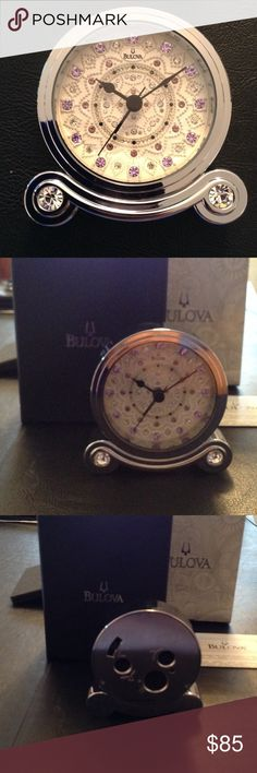 Bulova  Olympia Alarm Clock  with Crystals Beautiful brand new in the box. Clear and purple Crystals. Chrome finish. Bulova Other