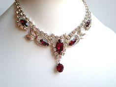 Vintage Rhinestone Necklace Red Clear Designer by snowflowerpie, $42.00