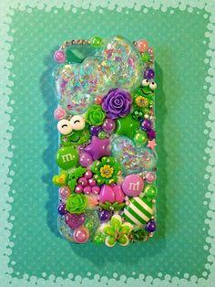 Green & Purple Opal iPhone 5 Kawaii Decoden Case by KreativeKoala on Etsy