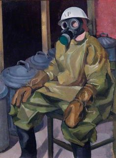 Your Gas Mask Will Take Care of You by Malvina Cheek. Date painted: c.1938 Oil on canvas, 48 x 38 cm. Collection: Royal Air Force Museum