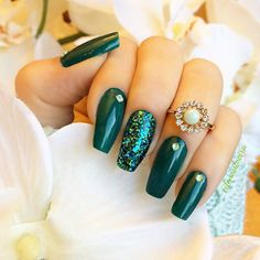 Deep Green + Blue Green Glitter + Rhinestone Long Coffin Nails. @cilenesilveira So elegant. Love it. #nail #nails #nailart