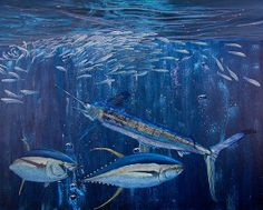 White Marlin Original Oil Painting 24x36in On Canvas by Manuel Lopez #swordfish