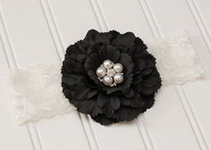 Black Peony Flower with Pearl Rhinestone Center 6-12 Months. Made by Mae & Jane