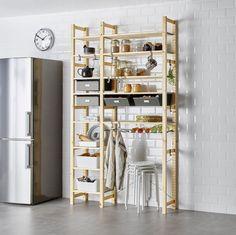 Pantry Shelving - IVAR 2 sections w/shelves & drawers IKEA Ikea Ivar Shelves, Ikea Shelving Unit, Pine Shelves, Pantry Shelving, Ikea Storage, Storage Shelves, Ikea Pantry, Ikea Kitchen, Kitchen Storage