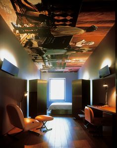 Hotel Lucerne. Jean Nouvel`s favourite design trick of drama to the ceiling.
