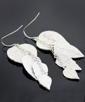 Silver Leaves Dangle Earrings $9  #SheInside