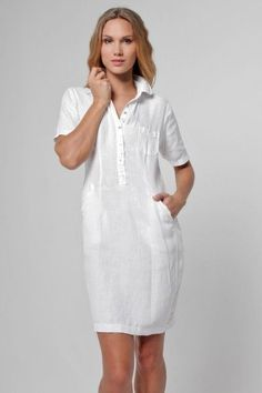 Linen Collared Golf Dress With Hidden Pockets Simple Dresses, Casual Dresses, Fashion Dresses, Summer Dresses, Woman Dresses, The Dress, Dress Skirt, Shirt Dress, Blouse