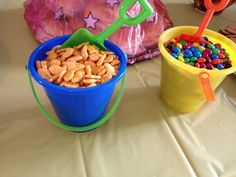 Summer party pails with shovels for finger food
