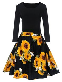 Length Sleeves O-Neck Fall Female Retro Robe Vestidos Women Autumn Vintage Sunflower Print Fit and Flare Dress Floral Dresses With Sleeves, Boho Floral Dress, Cute Dresses, Vintage Dresses, Casual Dresses, Hoco Dresses, Skater Dresses, Formal Dresses For Women, Dress For Short Women