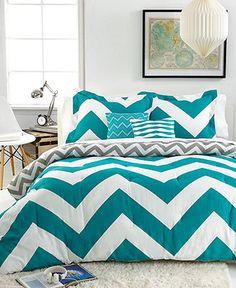 Chevron Teal 5 Piece Full/Queen Comforter Set - Bed in a Bag - Bed & Bath - Macy's