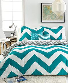 Chevron Teal 5 Piece Full/Queen Comforter Set - Bed in a Bag - Bed & Bath - Macy's