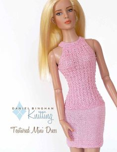 Knitting pattern for 16 doll (Tyler Wentworth): Textured Dress Barbie Style, Diy Barbie Clothes, Doll Clothes, Barbie Mode, Barbie Wardrobe, Barbie Patterns, Knitted Dolls, Barbie Dress, Crochet Clothes
