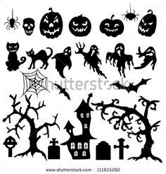 set of halloween silhouette on