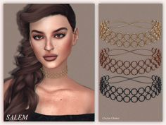 Created By Salem C. Circles Choker Created for: The Sims 4 new mesh 7 swatches HQ Texture (Compatible with HQ Mod by Alf-si) http://www.thesimsresource.com/downloads/1361879