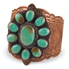 Copper flower cuff