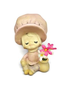Vintage UCTCI Japan Ceramic Stoneware Figurine -Girl with Flower Pot- UCTCI Japan- Large Headed Figurines- Vintage Figurine Japan