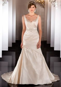 Martina Liana available at Mariee Bridal Scottsdale 4809464343  V-neck straps silk rouching fitted bridal gown wedding dress