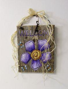 Purple Large Flower Tole Painted on Barn Wood by barbsheartstrokes, $22.00