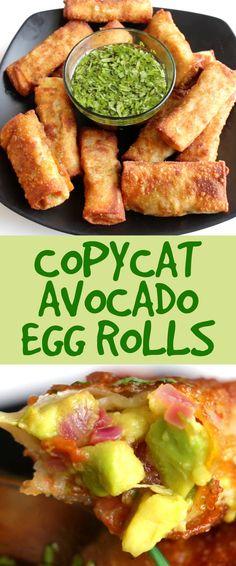 http://www.buzzfeed.com/christinebyrne/cheesecake-factory-avocado-egg-rolls?bffbfood Vegan Egg Rolls, Vegetarian Egg Rolls, Vegetarian Recipes, Spring Roll Wraps, Spring Roll Sauce, Spring Rolls, Egg Roll Wraps, Avocado Egg Bake, Avocado Toast