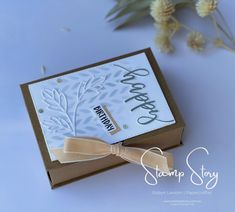 Roby Lawton   Stamp Story - shares a Tutorial for creating this elegant Story Book Box and matching cards with Stampin' Up! Pretty Perennials stamps and dies. Matching Cards, Perennials, Stampin Up, Stamps, Place Card Holders, Elegant, Create, Book, Birthday