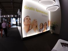 Stretchwall at an exhibition in Gent Expo ( Belgium ) at the BisBeurs   2 Clipso lichting ceilings