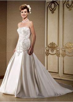 $174.49 : Strapless Taffeta A-Line Wedding Dress With Beading Embellishment