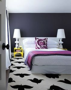 Grey and Yellow - Pop of Purple - love the rug!