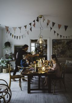we could do the bunting strings in the patio at the bottom of the backyard Dining Room Inspiration, Inspiration Wall, Dining Room Design, Dining Area, Humble Abode, First Home, Life Is Beautiful, Home And Living, Decoration