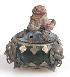 INCENSE BURNER W/ SHISA DOG ON TOP   JADE, VINTAGE