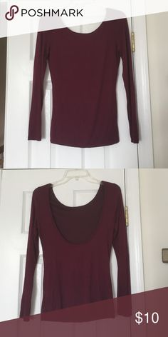 Selling this ⚜Maroon Open-Back Blouse on Poshmark! My username is: catbb15…