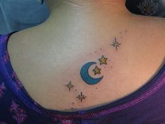 moon stars tattoo | Com Back Tattoos For Women Tagged As 30 Nicest - Serbagunamarine.com